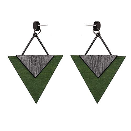 DFDLNL Conjuntos de Pendientes para Mujer Aros Mujer Triángulo de Madera de Zinc Pendiente de diseño Bohemio Retro Colgante RegaloVerde