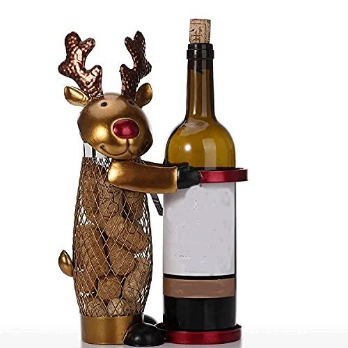 aitian Estante De Vino De Estilo Europeo Elk De Navidad Estante De Botellas De Vino Contenedor De Corcho Animal Soporte De Vino De Metal Para El Hogar Bar Interior Restaurante Decoraciones Regalos Fam