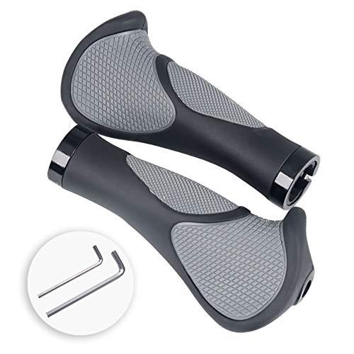 Nappaglo Bike Handlebar Grips Ergonomic Desgin, with Bilaterally Locking Ring Non-Slip for Standard Bike Grip Diameter 22.2mm (Hornless)