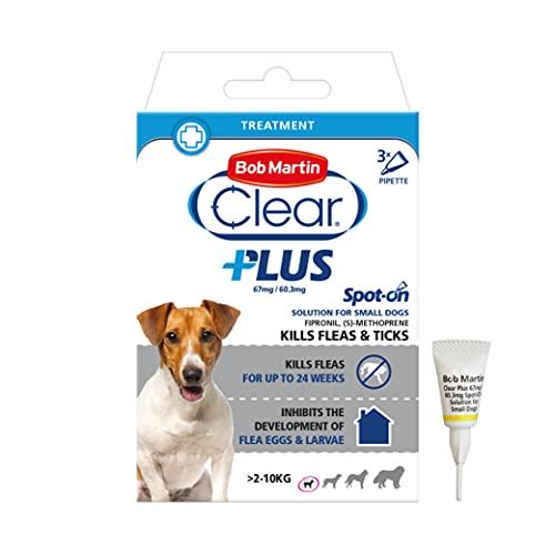Bob Martin Clear Plus | Spot On Flea Treatment for Small Dogs (2-10 Kg) | Instantly Kills Fleas, Ticks, Lice & Flea Eggs (3 Pipettes)