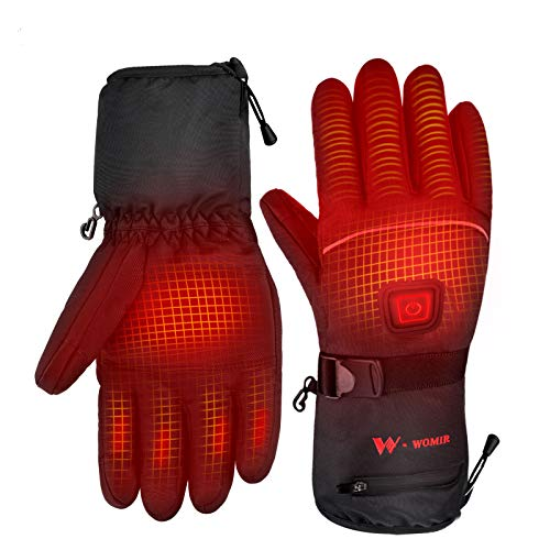 WOMIR Heated Motorcycle Gloves for Women Men, Rechargeable 3.7V 4000mAh Hand Warmer Heated Gloves for Skiing Snowboarding Hiking Cycling Hunting Riding, Fishing (Large)