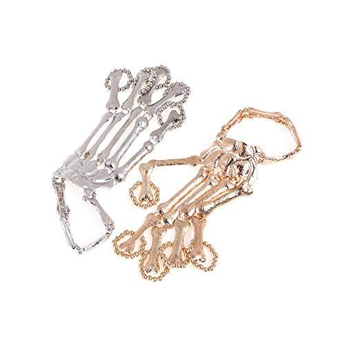 MOTZU 2 Pack Punk Finger Armbänder, Gold/Silber Halloween Armband,Rock Gothic Skelett Knochen Hand Kralle Klaue Schädel Armband Ring,Greifer-Schädel-Armband, Metallhandskelett Party Schmuck
