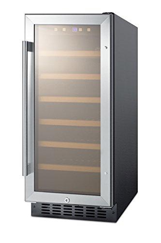 Summit SWC1535B 15' Built-In Undercounter Glass Door Wine Cellar with Lock and Digital Controls, Glass/Black
