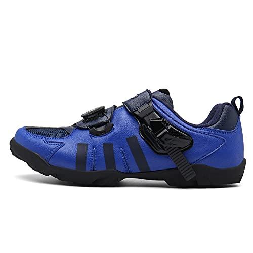 Zapatos De Bicicleta Sin Hacer Clic, Encaje Rápido, Suela De Goma, Referirse A La Longitud del Pie,Azul,46