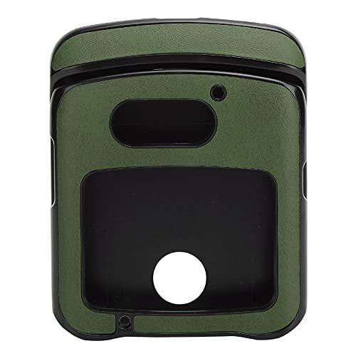 Hülle mit Clip für Motorola RAZR 5G Flip Phone, Stoßfeste Handy Lederhülle für Motorola Razr 5G Lederhülle(Grün)