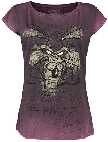 Looney Tunes Wile E. Coyote - Genius Frauen T-Shirt lila L 100% Baumwolle Fan-Merch, TV-Serien