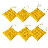 AIITLLYNA Cuscini per Sedie Set da 6,Cuscino per Sedia da Giardino 40x40 per Interni ed Esterni - Decorazione di mobili da Giardino di Diversi Colori Cuscini per sedie (Giallo)