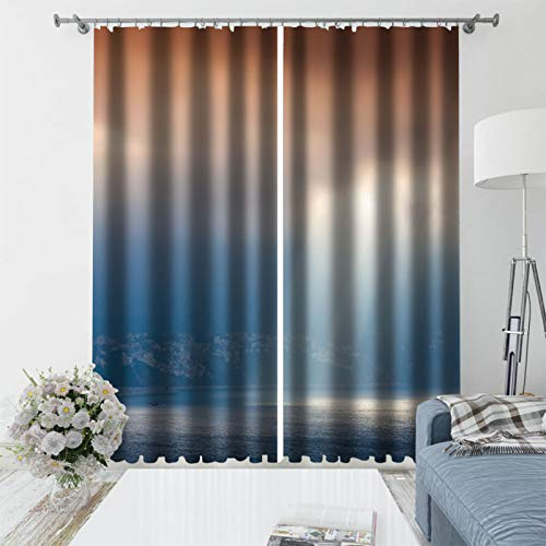 Oukeep Microfiber Home Decoration Curtains Personalized Blackout Blinds With 3D Realistic Patterns Suitable For Curtains For Balcony, Bedroom, Garden 2 Pieces