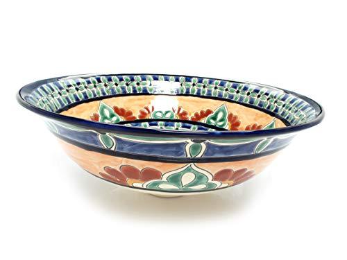 Carmita - Lavabo Mexicain Cerames | Vasque de lavabo 40,5 cm x 15 cm | Lavabo en Mexique pour salle de bain, chambre d'amis, WC