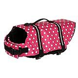 KunLS Salvagente Cane Squalo Salvagente per Cani Cappottini per Cani di Taglia Grande Impermeabili Giacca per Cani Riflettente Pink,XS