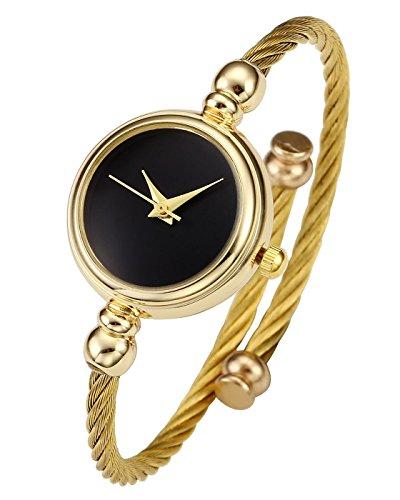 JSDDE Uhren Damen Armbanduhr Chic Manschette Damenuhr Spangenuhr Zeitlos Design Armreifen Quarzuhr Gold Schwarz