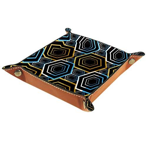 FURINKAZAN Bandeja de valet para cambio de mesita de noche, color oscuro, geométrico rombo hexagonal