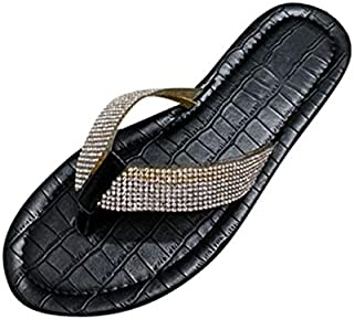 Summer Sandals Women Slippers Ladies Bling Crystal Sandals Flats Gladiator Sandals Beach Shoes Female Sandalia Simple personality slippers (Color : Black, Shoe Size : 41)