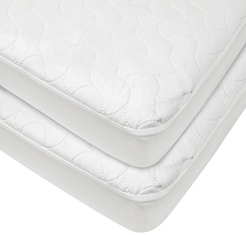 American Baby Company 2 Pack Waterproof Fitted Quilted Crib and Toddler Protective Pad Cover, White, for Boys and Girls