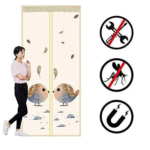 Magnetisch scherm deur polyester versleuteling vogel gaas gordijn krachtige magneten hoge sterkte top naar bodem afdichting automatisch Beige 90X205cm 110X200cm