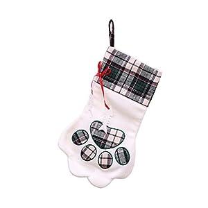 Roblue Bas de Noël Personnalisés Chaussettes Forme Griffe de Chien Noël Décoration Sac-Cadeau Bonbons Rennes Bonhomme