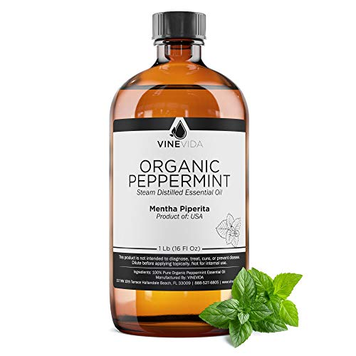 Bulk Organic Peppermint Essential Oil – 16 Oz Essential Oil in Glass Bottle - 100% Pure & Undiluted Essential Oil - 1 Pound Peppermint Oil for DIY Soaps, Candles, and Blends - VINEVIDA