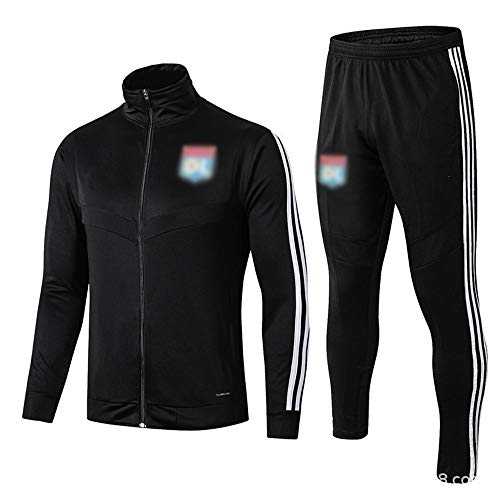 European Football Club Männer Fußball Langarm Sportbreathable Sport Schwarz Trainings-Uniform (Top + Pants) -ZQY-A0833 (Color : Black, Size : M)