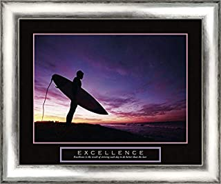 Excellence - Surfer 24x20 Silver Contemporary Wood Framed Canvas Art by Frontline