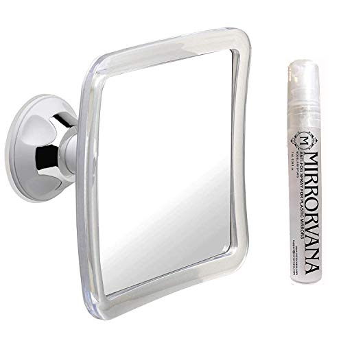 Mirrorvana Fogless Shower Mirror for Fog Free Shaving with Upgraded Suction-Cup (6.3 x 6.3 Inch) and Mirrorvana Anti-Fog Spray for Shower Mirror