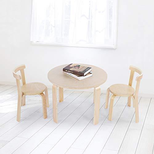 EBTOOLS Kindersitzgruppe, Runder Kindertisch mit 2 Kinderstuhl aus Holz Kindermöbel für Haus und Kindergarten, einfache Installation 60 * 60 * 51,5 cm + 52 * 33 * 31,5 cm