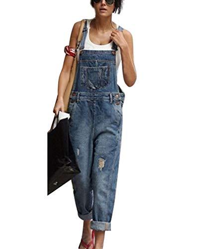 GUOCU Damen Baggy Jeans Hosen Distressed Ripped Denim Latzhose Frauen Freizeit Arbeitshosen Overall Jumpsuit Dunkelblau 3XL