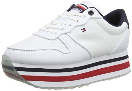 Tommy Hilfiger Piped Flatform Sneaker, Scarpe da Ginnastica Basse Donna, Rosso (RWB 0kp), 36 EU