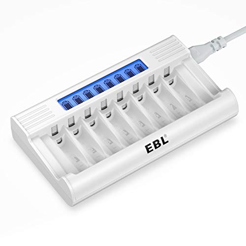 EBL LCD Chargeur de Piles Rapide- Chargeur de Piles 8 Slots Ultra Rapide pour AA AAA Piles Rechargeables Ni-MH, avec Technologie de Détection de Piles, et Grande Écran LCD à Haute Définition