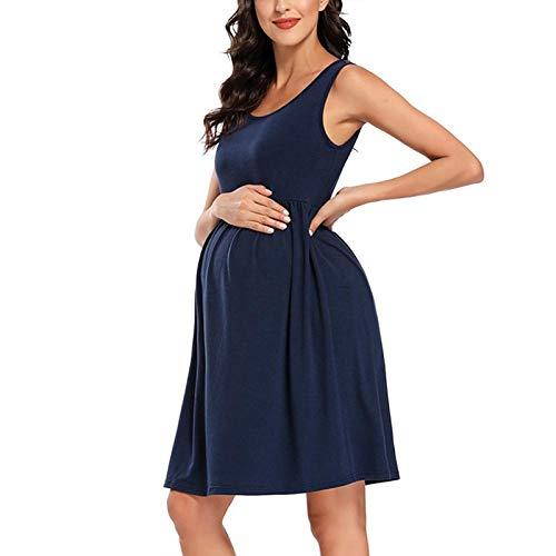 Umstandsärmel gestreifter Tank Umstandskleider Schwangere Kleidung Schwangerschaftskleid Knielanges Sommerkleid mit hoher Taille und A-Linie-M_S.