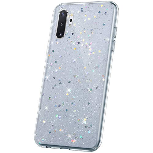 JAWSEU Compatible avec Samsung Galaxy Note 10 Pro Coque Silicone Paillette,Cristal Clair étoile Brillant Bling Glitter Housse Etui Slim Transparente TPU Souple Gel Strass Case Femme Fille,Clair*