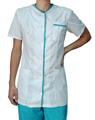 tessile astorino Bordado gratuito – Casaca sanitaria para mujer – Chaqueta de trabajo para enfermeras, empresas de limpieza, hogar, alimentos – Manga corta – Fabricado en Italia Color blanco. S