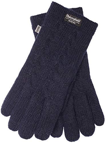 EEM Damen Strick Handschuhe FREYA mit Thinsulate Thermofutter aus Polyester und Zopfmuster, Strickmaterial aus 100% Wolle; navy, L