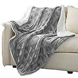 Exclusivo Mezcla 50' x 70' Large Throw Blanket, Reversible Brushed Flannel Fleece& Plush Sherpa Blanket( Light Grey)- Decorative, Lightweight, Soft and Warm