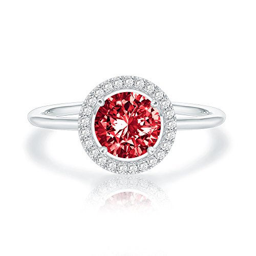 Swarovski Crystal 14K White Gold Plated Birthstone Rings | White Gold Rings for Women | Ruby Ring