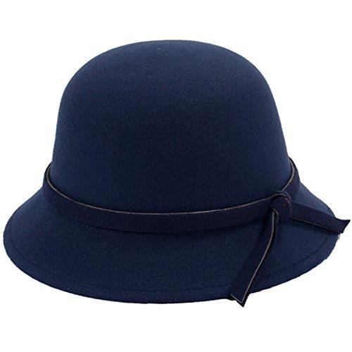 iSpchen Butterme Mujeres Lady Vintage Lana Redondas Arco Fedora Cloche Derby Cubo Sombreros Sombreros Azul Marino Talla ¨²nica