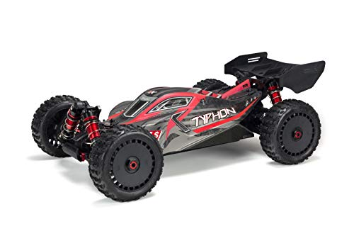 ARRMA Typhon 1/8 Scale BLX Brushless 4WD RC Speed Buggy RTR (6S Lipo Battery Required) with 2.4GHz STX2 Radio, ARA106046 (Matte Red/Grey)
