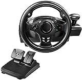 M I A Rueda de carreras de doble motor, volante de rotación de 270 grados para /PS4/ONE/360/NS Switch/PC/Android, con pedales, palanca de cambios