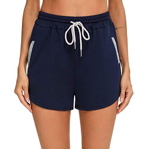 Akalnny Pantalones Cortos Deportivos para Mujer Pantalones Deportivos al Aire Libre con Bolsillos Adecuados para Ejercicio de Verano, Yoga, Fitness, Fitness(Azul Marino, L)