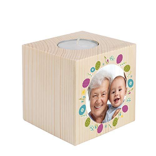 Herz & Heim® Kerzenhalter mit Foto - tolles Ostergeschenk für Oma und Opa