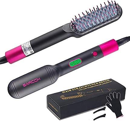 Cepillo alisador de pelo, alisador de barba, plancha alisadora de pelo y peine rizado con peine integrado, antiquemaduras, calentamiento rápido, con pantalla LED de temperatura