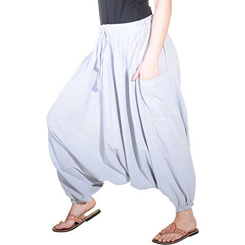 KUNST UND MAGIE Orientalische Haremshose one Size in vielen Farben, Farbe:Grau