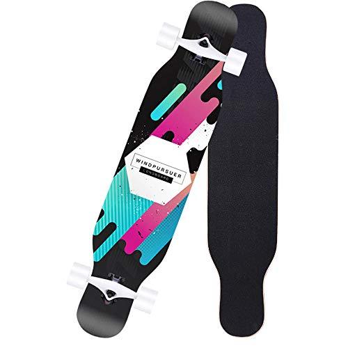 Longboard Skateboards Downhill Freeride Slide Longboard Komplettes Maple Drop Concave 43 Zoll Freestyle Cruiser Dancing Deck für Anfänger, Mädchen, Jungen- # 1