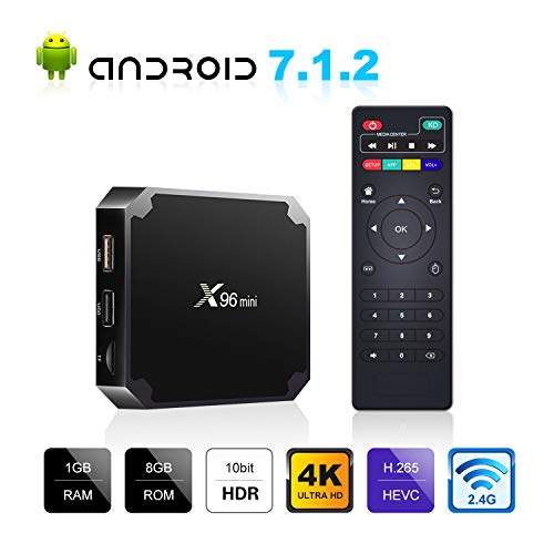 Android 7.1.2 TV Box, X96 Mini Android TV Box - 1GB RAM+8GB ROM AMLOGIC S905W Quad-core Cortex-A53 with WiFi 2.4GHz / H.265 4K HD Smart Media Player
