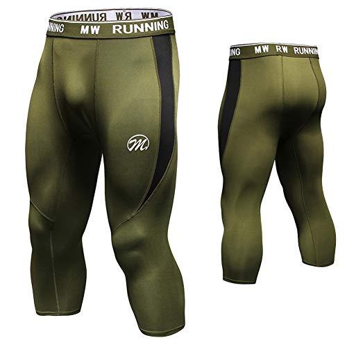 MEETWEE Leggings Hombre, 3/4 Mallas Running Pantalón de Compresión Pantalones Deporte para Fitness Yoga