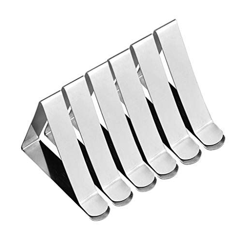 6 Pack Acier Inoxydable Nappe Clips Pinces à Nappe de Table Pique-Nique Clip de Nappe Table Holder Anti-Glissant par Rameng