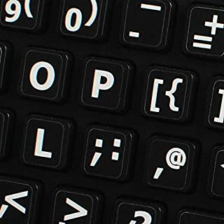 English US Large Lettering Sticker for Keyboard (Upper CASE) Black Background for Desktop, Laptop and Notebook
