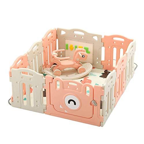 Relaxbx babyomheining, kinderspel, voor binnen en buiten, met schommelpaard beschermend hek, baby, veilig, kruipmat, outdoor, kleine speelplaats