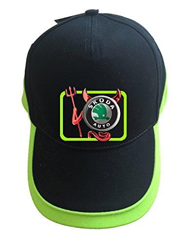 mmshop18 Skoda Devil Teufel Auto Logo Unisex Baseball Cap Mütze -c29 (sw-grün)