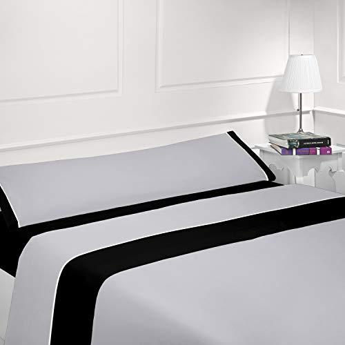 Coflor Juego de sábanas Lisas - Bicolor - Tres Piezas - Tacto Seda - Microfibra Transpirable (Gris/Negro, 150_x_190/200 cm)