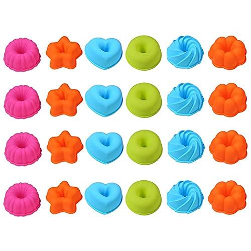 Giftik 24 piezas reutilizables de silicona para magdalenas de fondant molde de silicona donut calabaza donuts hornear molde Cupcake molde (24)